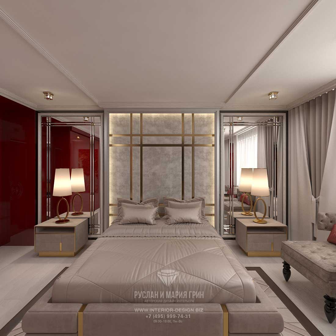 Дизайн бежевой спальни в стиле арт-деко