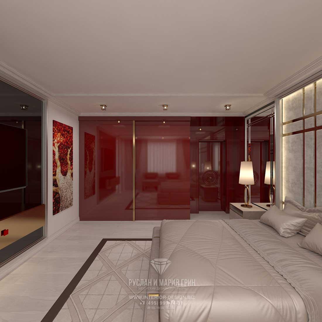 Дизайн спальни в стиле арт-деко. Гардеробный шкаф