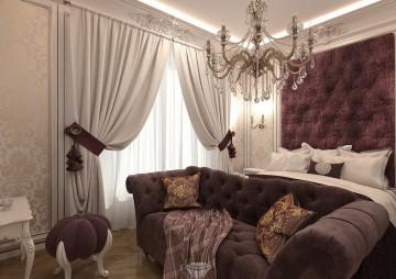 Дизайн бордовой спальни в классическом стиле