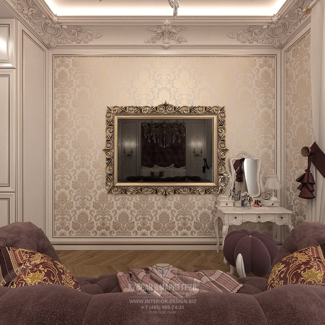 Дизайн бордовой спальни в загородном доме
