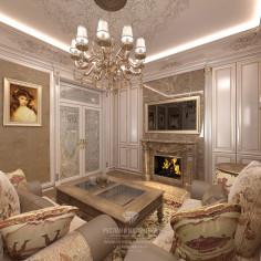 Дизайн бежевой гостиной с камином в классическом стиле