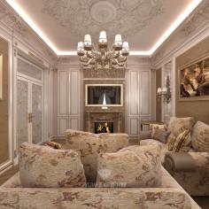 Дизайн бежевой гостиной в классическом стиле