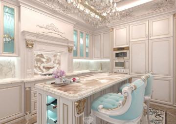 Дизайн кухни в классическом стиле. Кухонный остров
