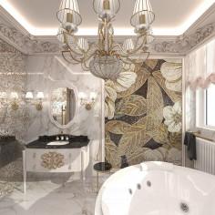 Дизайн белой ванной комнаты в классическом стиле