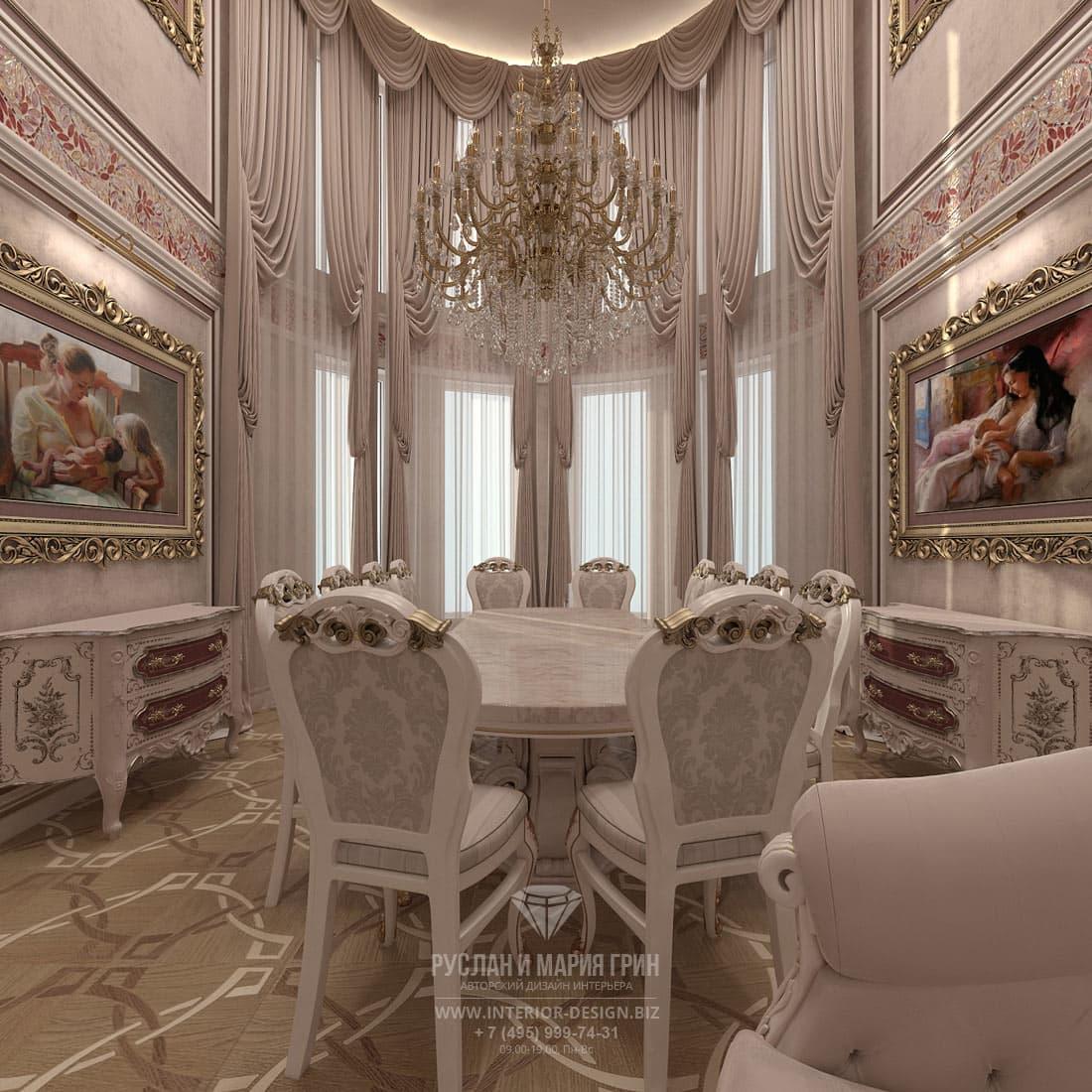 Классический интерьер столовой в частном доме