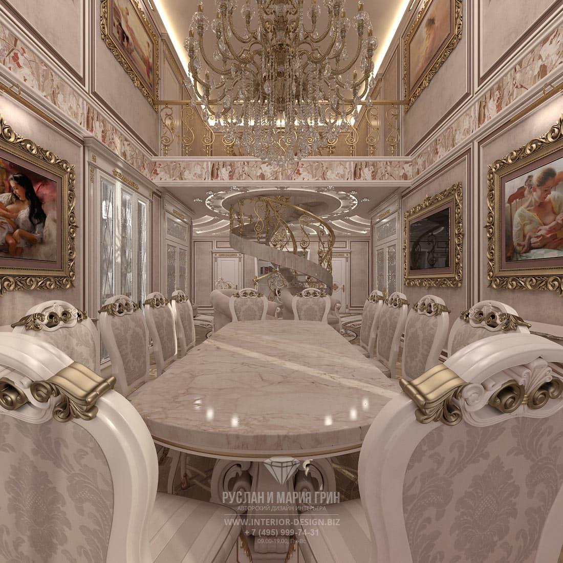 Дизайн столовой в частном доме в классическом стиле