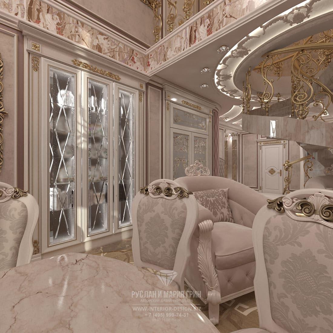 Розовая гостиная-столовая в классическом стиле