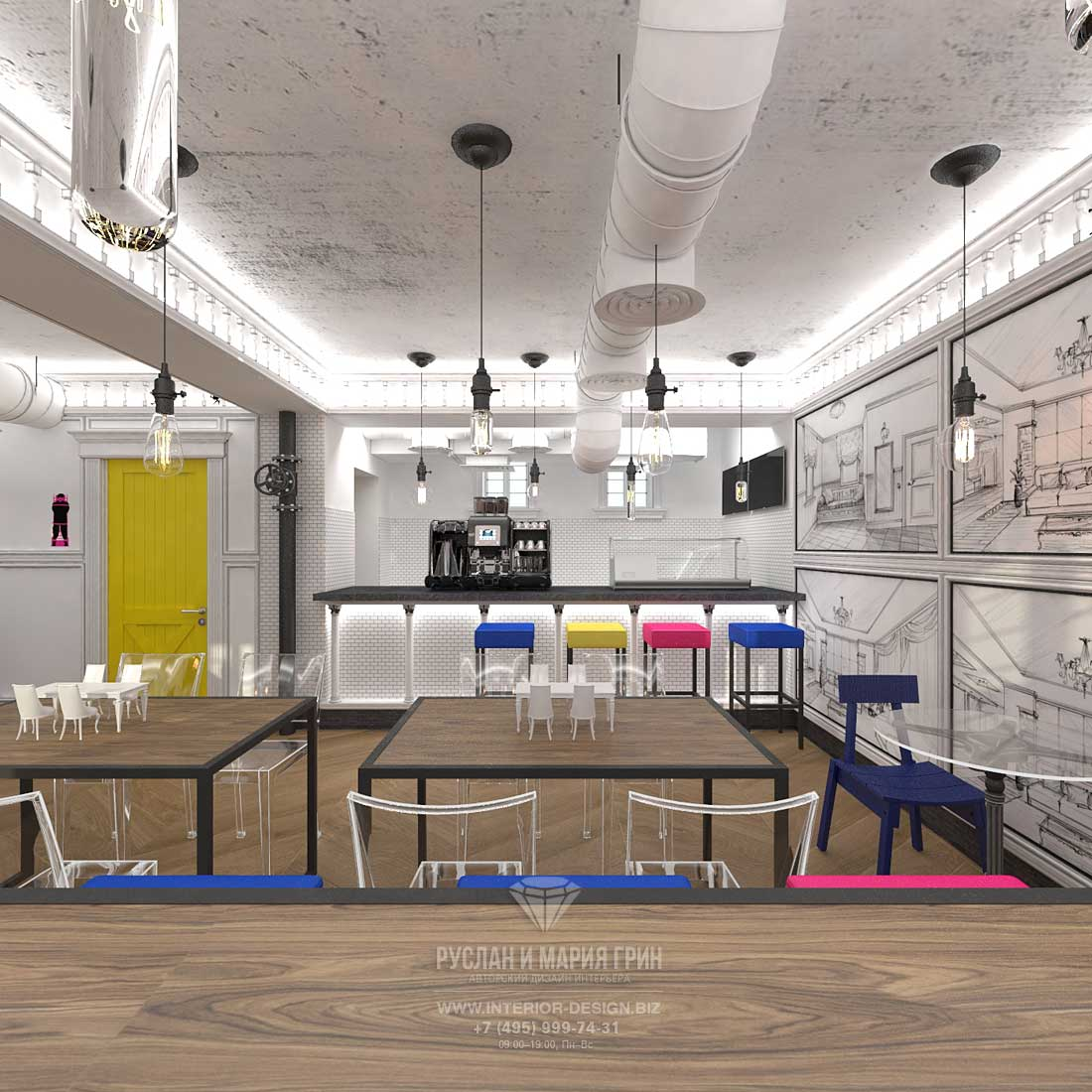 Дизайн интерьера бара «Киану» в Москве на Патриарших прудах