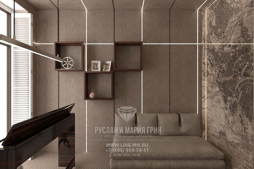 Дизайн кабинета в стиле лофт. Фото интерьера