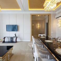Гостиная-столовая дома в КП «Высокий берег»