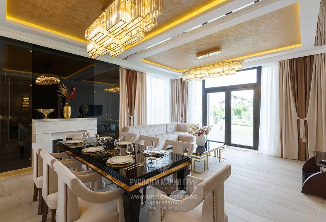 Дизайн гостиной дома в КП «Высокий берег»