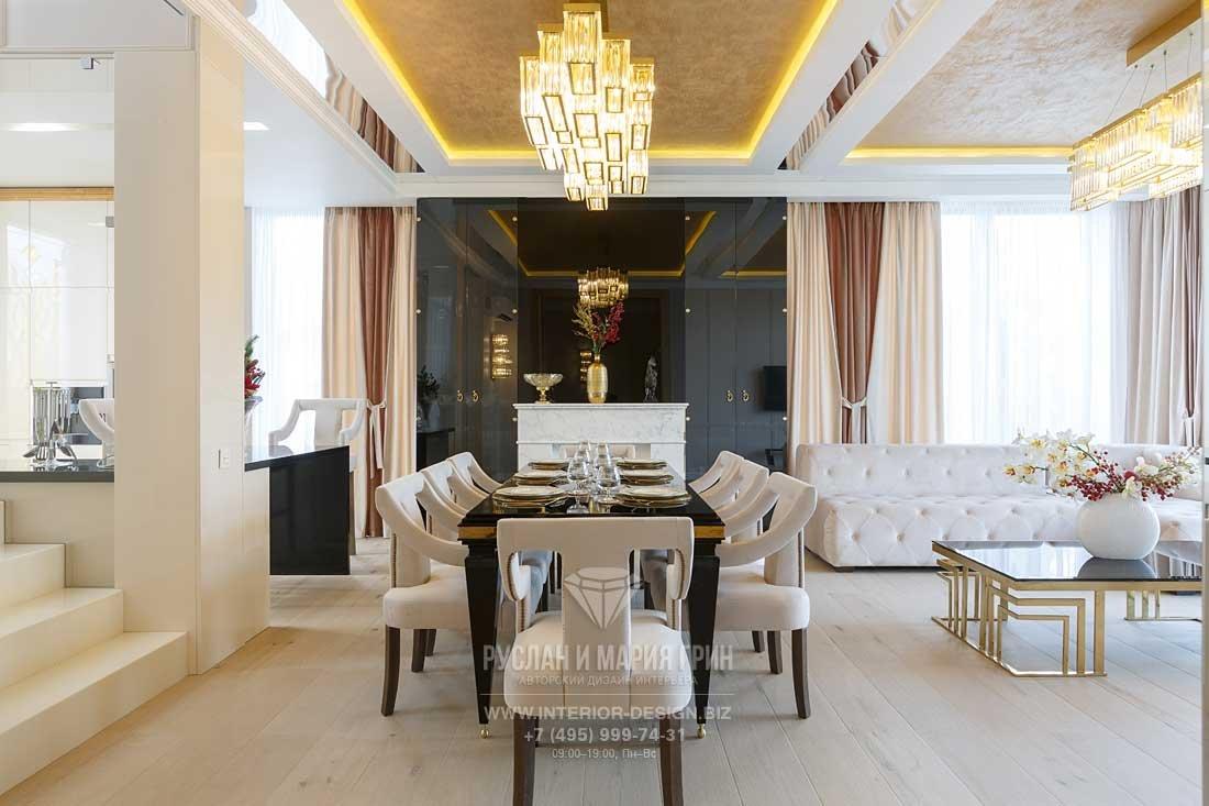 Дизайн гостиной-столовой с камином в стиле арт-деко
