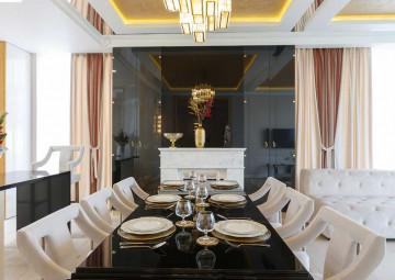 Дизайн столовой коттеджа в КП «Высокий берег»