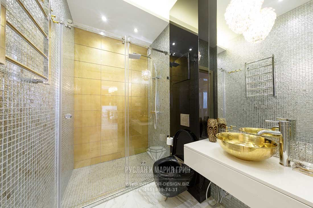 Ремонт ванной с душевой кабиной в стиле ар-деко