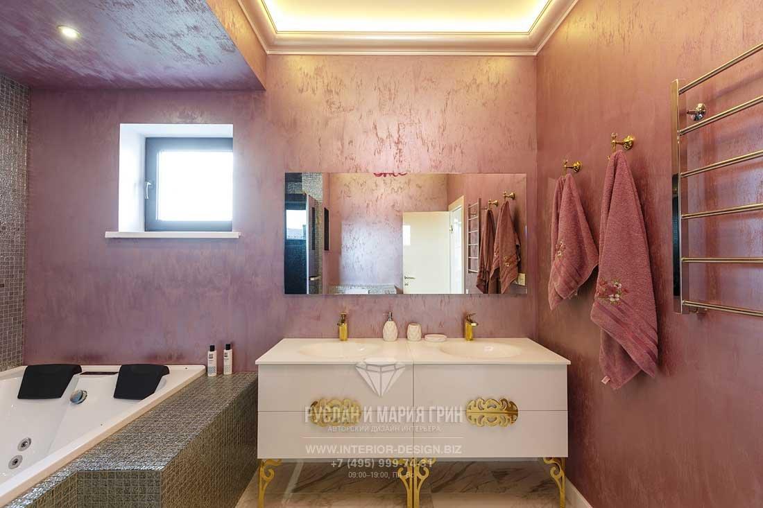 Розовая ванная комната в стиле ар-деко