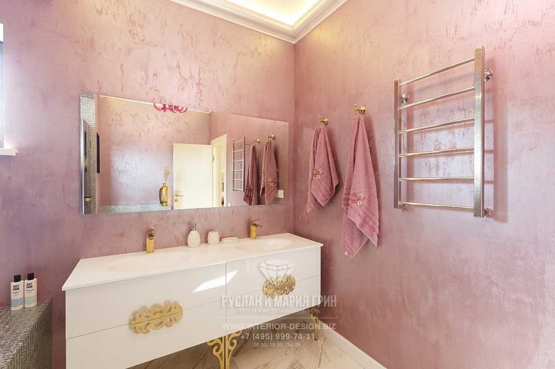 Розовая ванная комната в стиле ар-деко. Фото после ремонта
