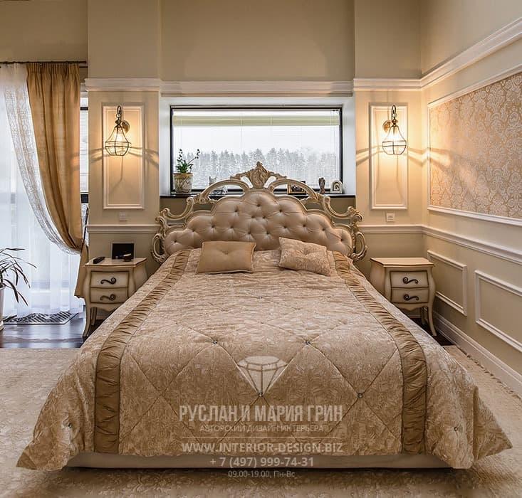 Бежевая спальня в классическом стиле