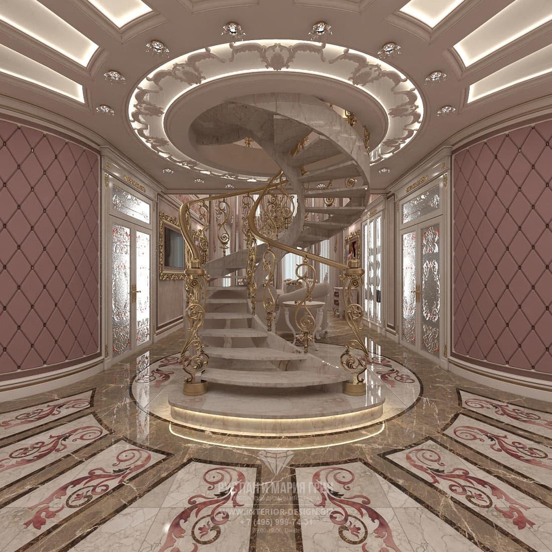 Дизайн лестницы частного дома в классическом стиле