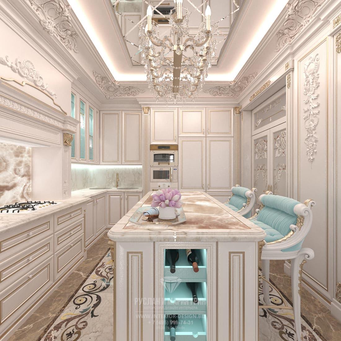 Дизайн светлой кухни в классическом стиле