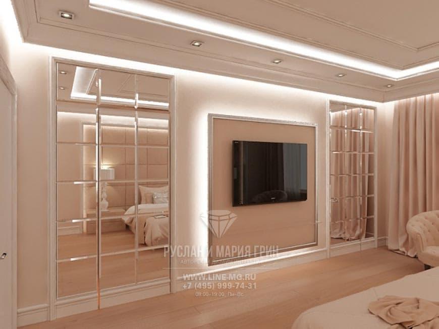 Дизайн-проект интерьера ТВ-зоны спальни в коттедже