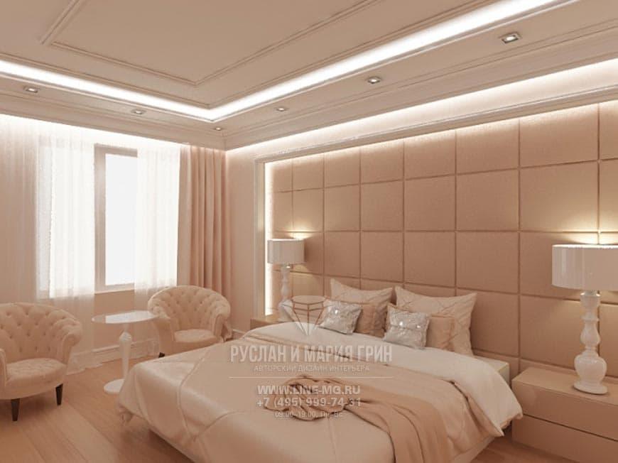 Дизайн-проект интерьера розово-бежевой спальни в коттедже