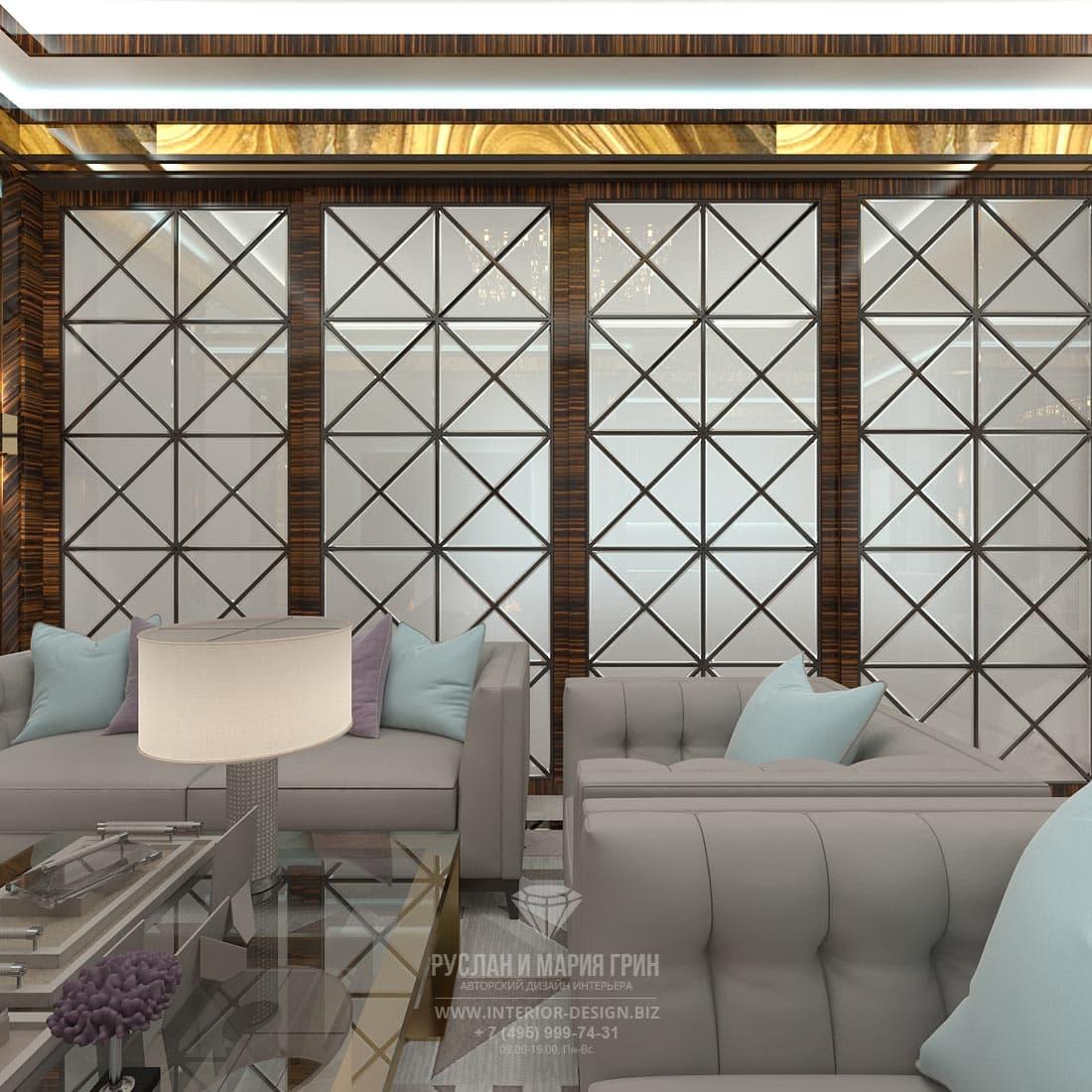 Красивая гостиная в стиле ар-деко