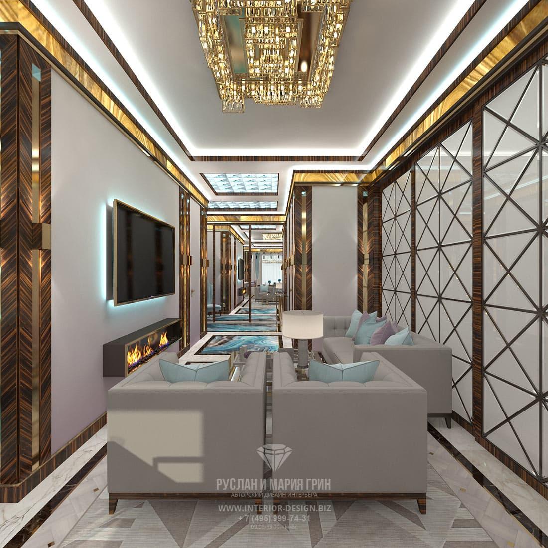 Диванная зона гостиной и раздвижные двери с декоративной раскладкой