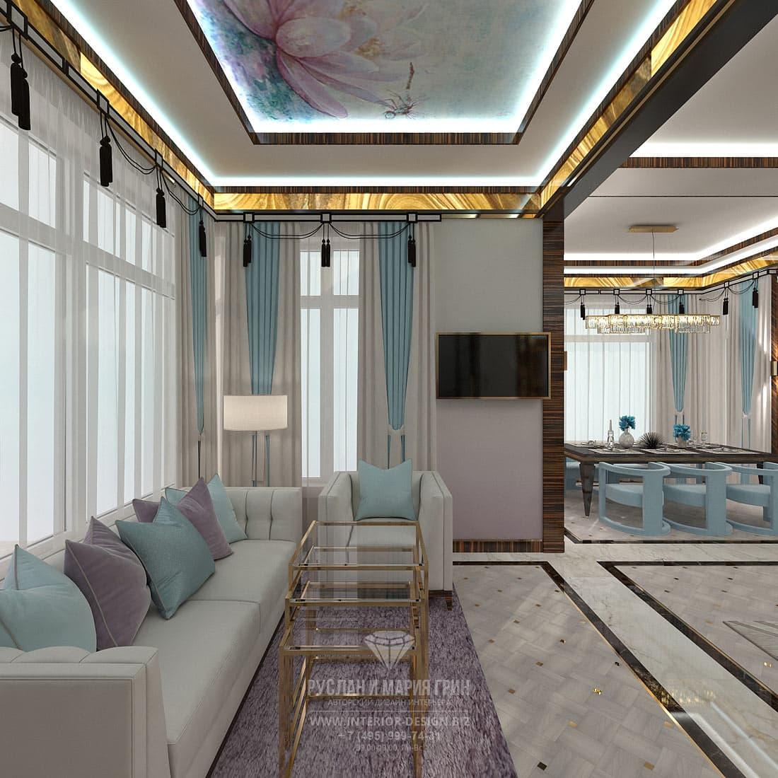 Дизайн гостиной с кабинетом в стиле арт-деко