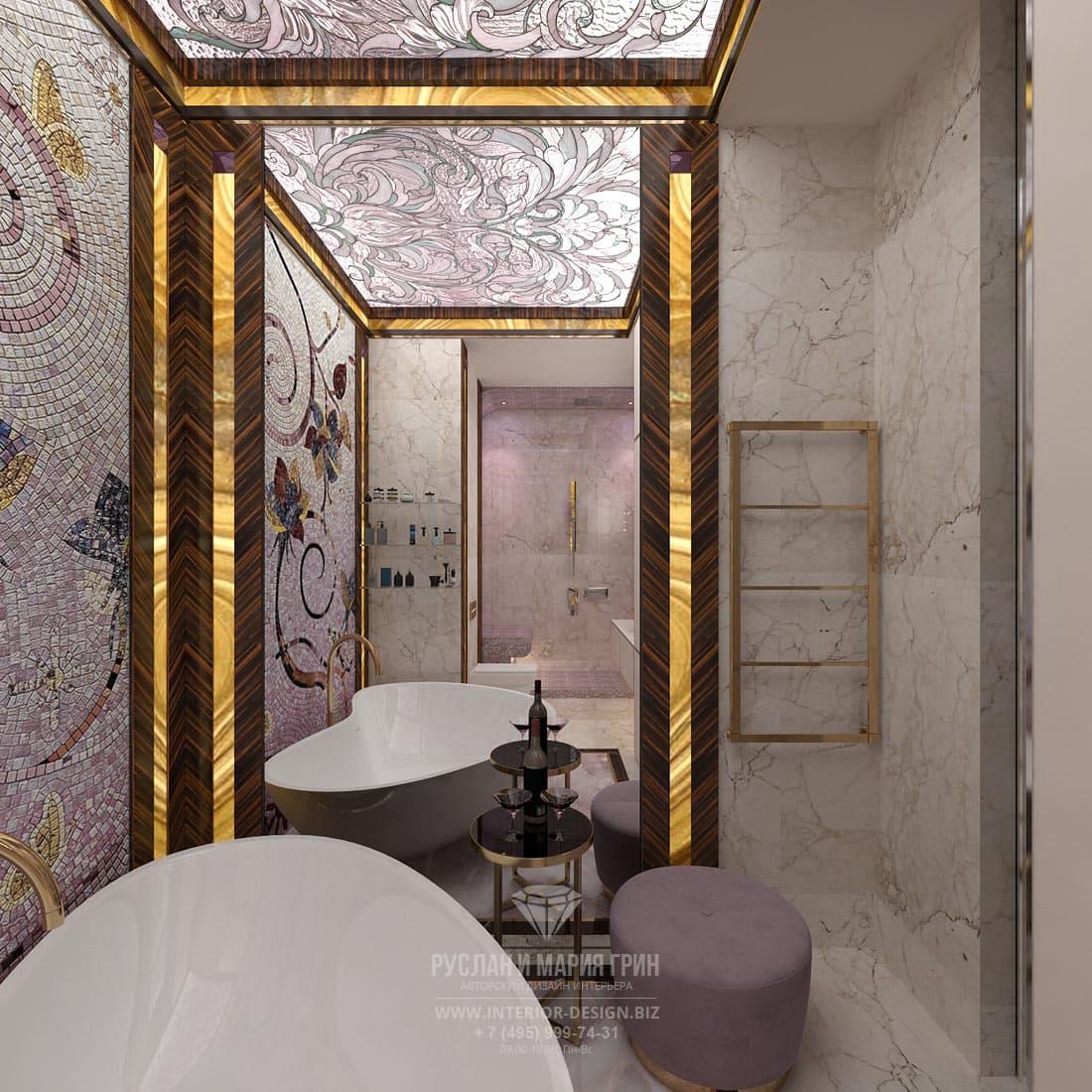 Красивый дизайн ванной. Зона для умывания
