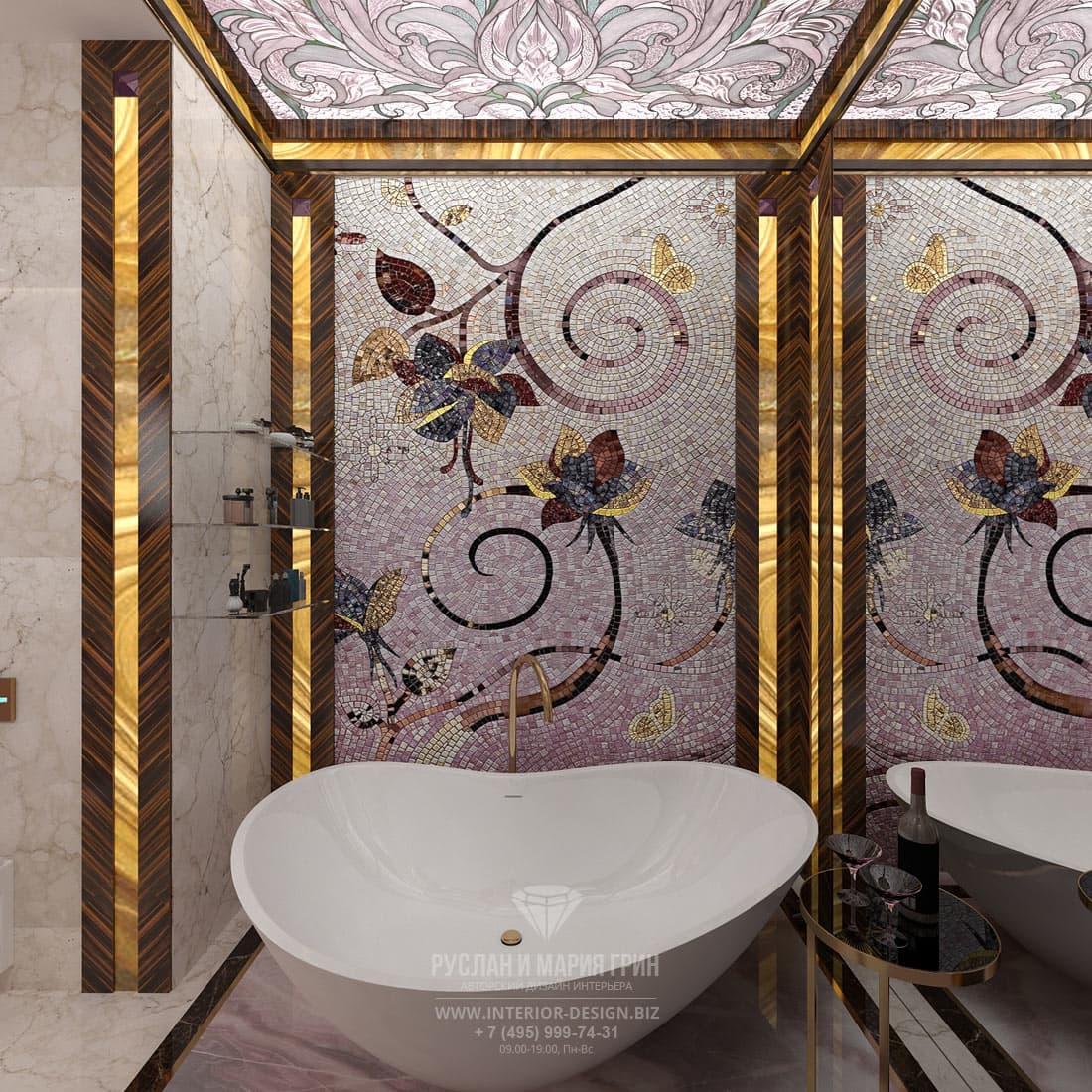Ванна-чаша и мозаичное панно в интерьере санузла