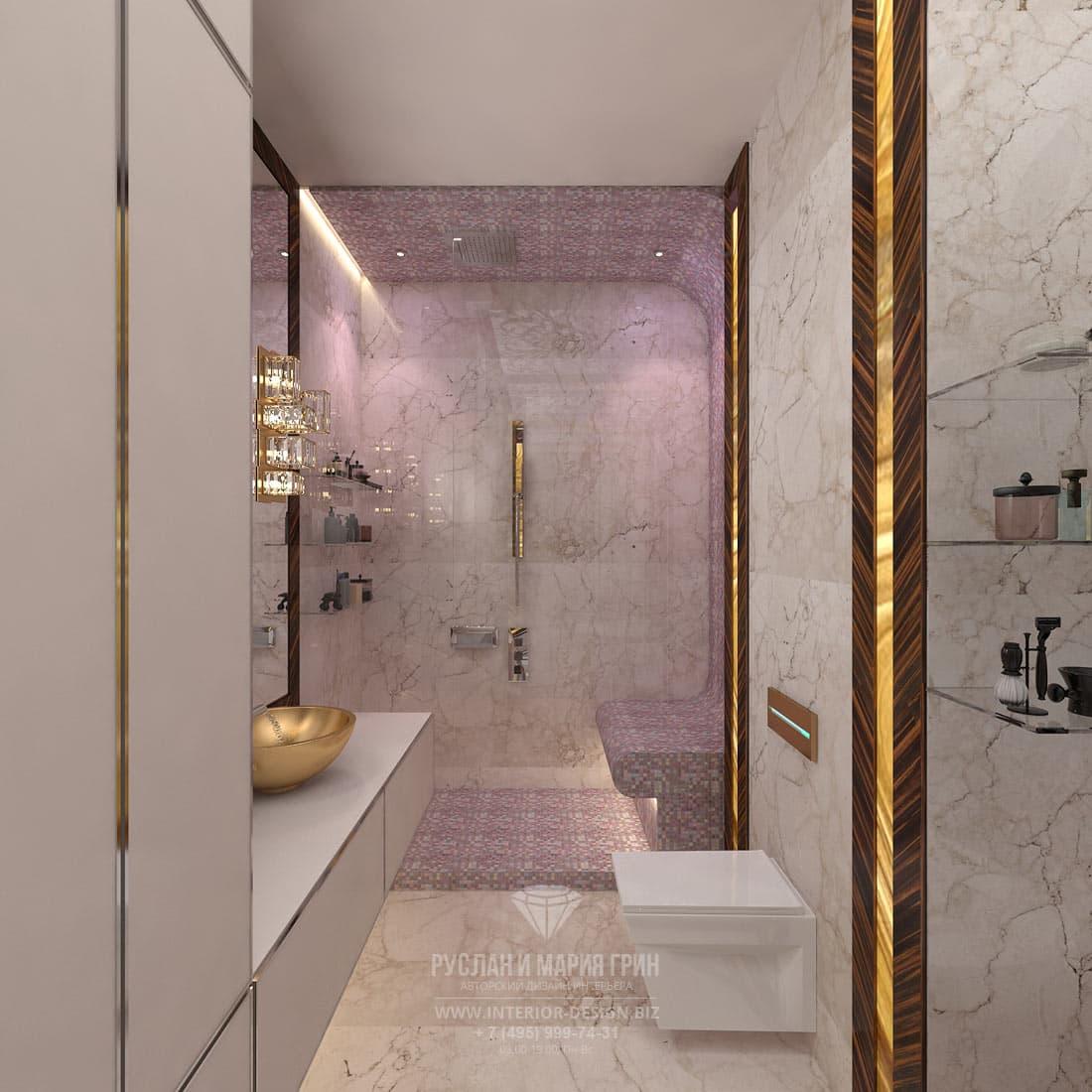 Красивая ванная комната с мозаичным панно