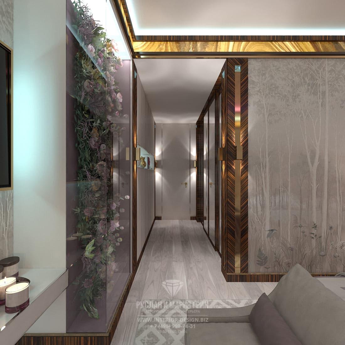 Лиловая спальня в стиле арт-деко