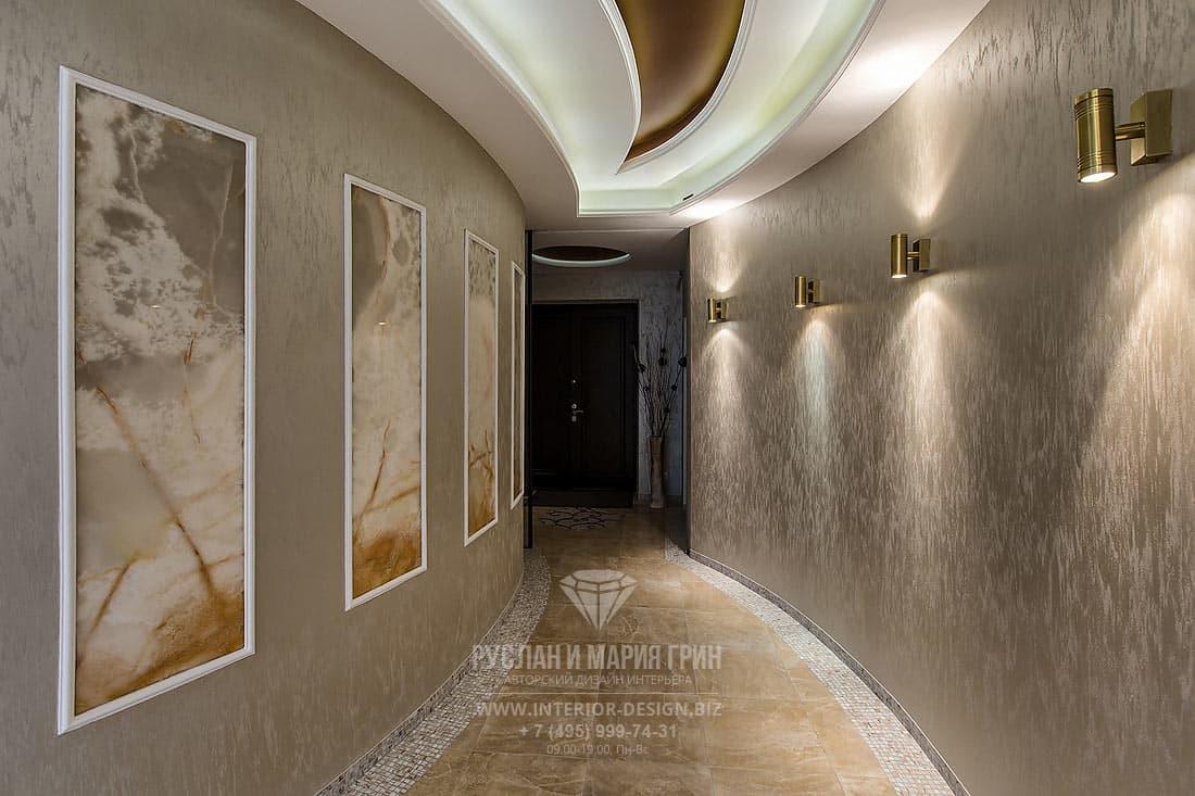 Дизайн интерьера просторной квартиры. Фото коридора