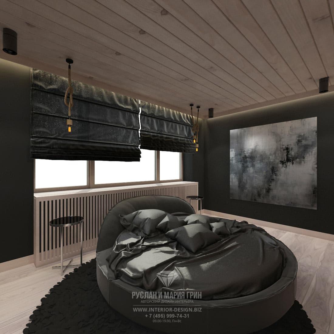 Интерьер современной спальни в черных тонах
