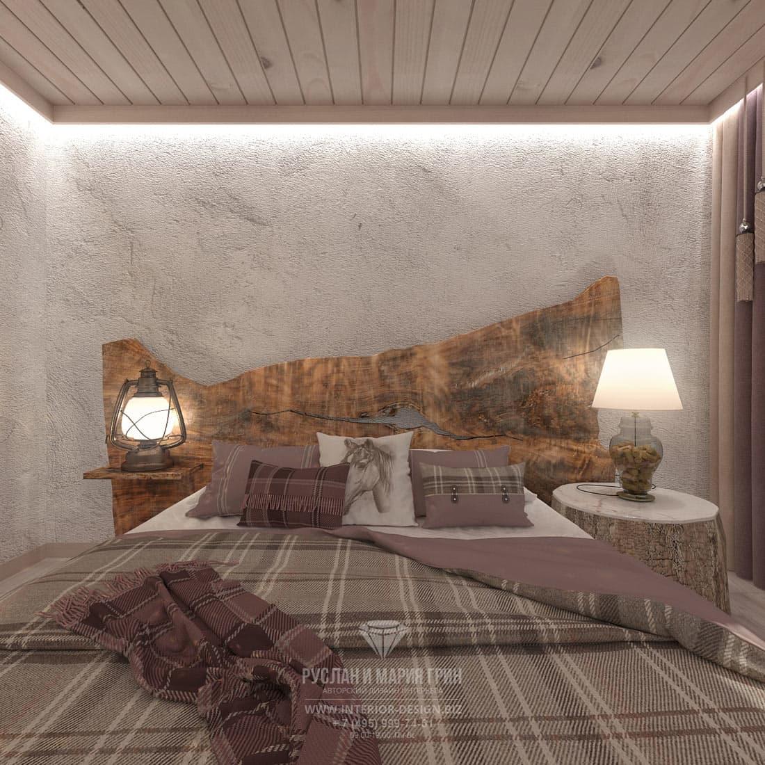 Оформление спальни в стиле шале