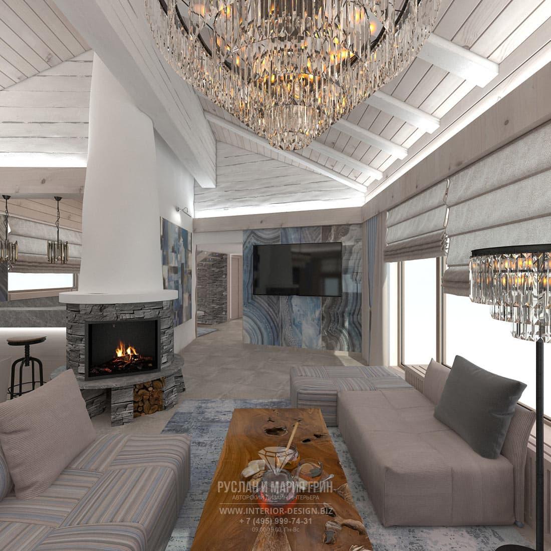 Дизайн гостиной с сине-голубыми акцентами
