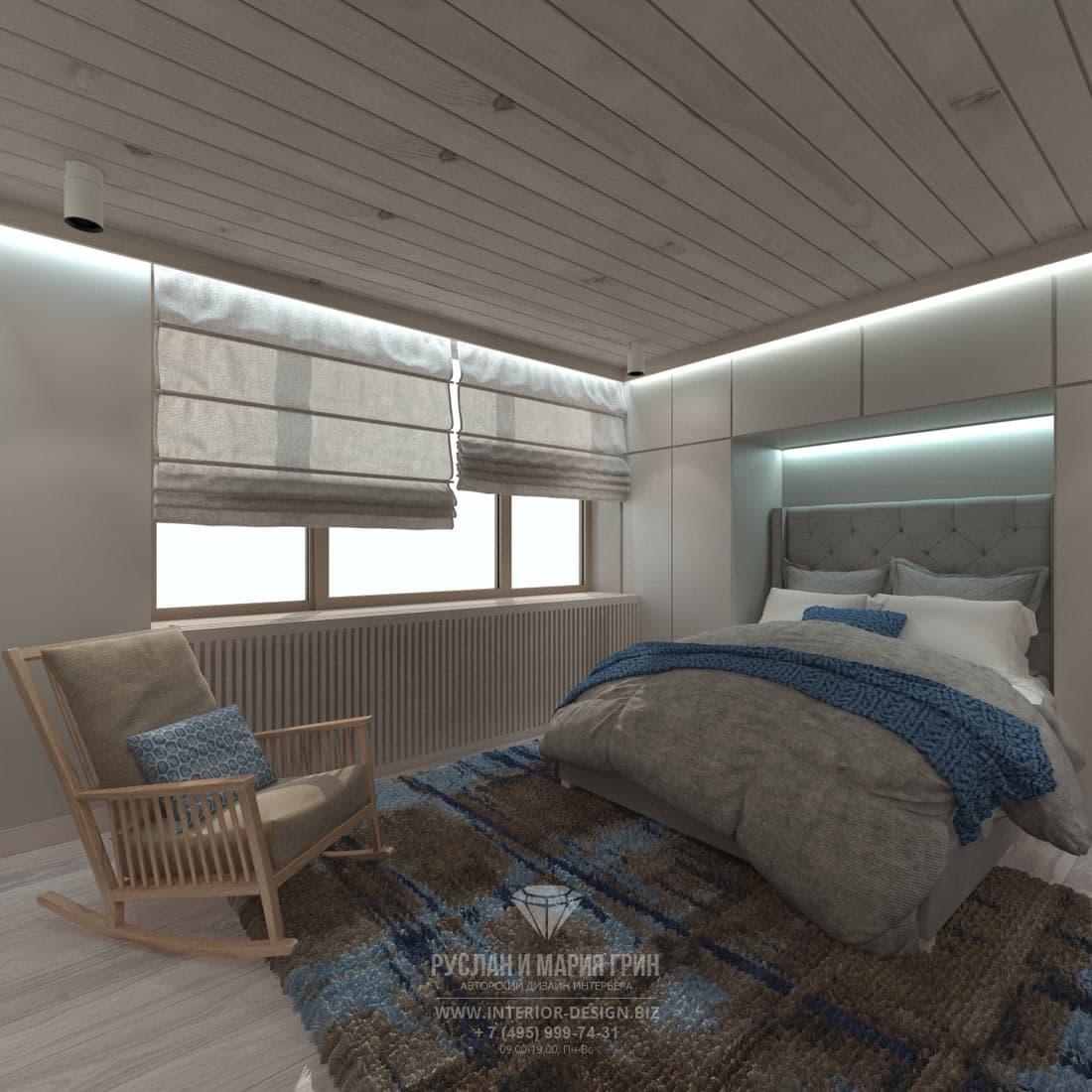 Сине-коричневая гамма в оформлении спальни