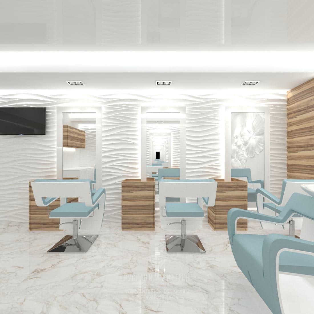Дизайн парикмахерского зала в салоне красоты маленькой площади