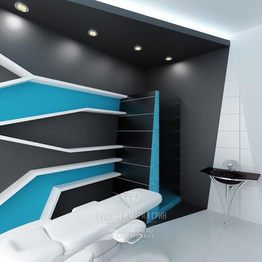 Дизайн салона красоты в стиле футуризм. Массажный кабинет