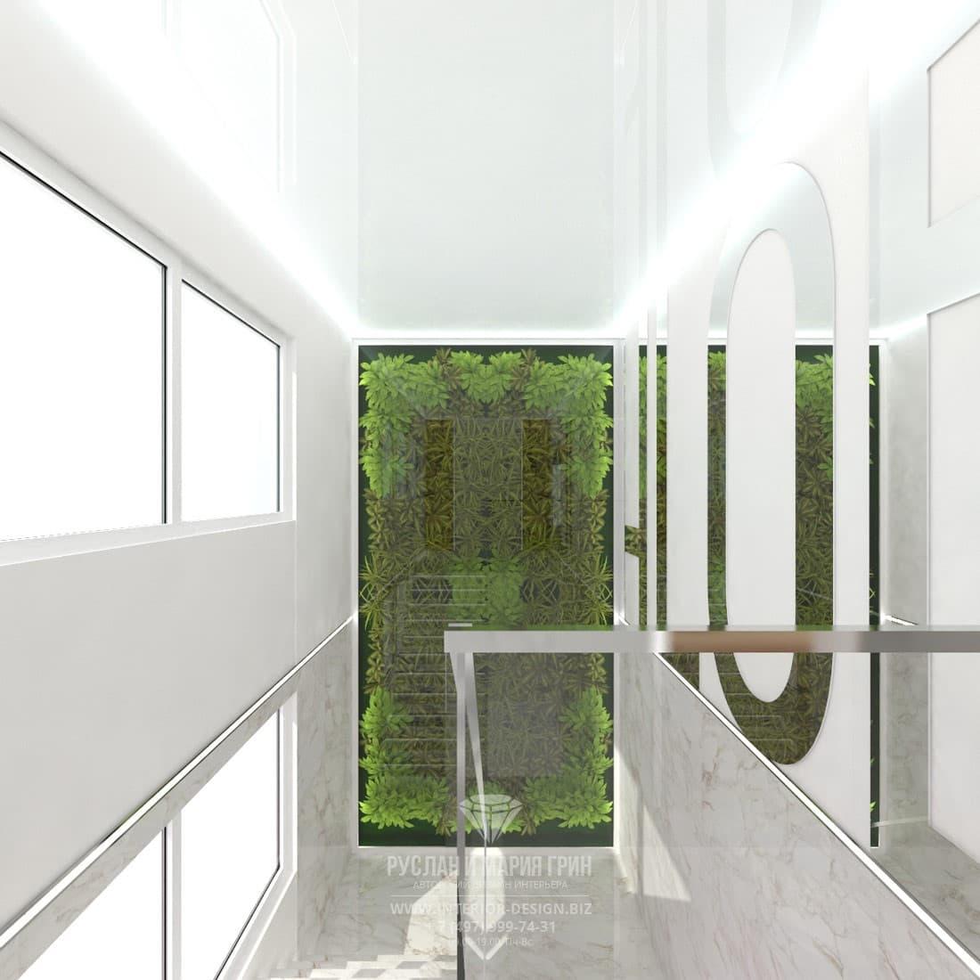 Небольшой салон красоты в скандинавском стиле. Лестничный холл