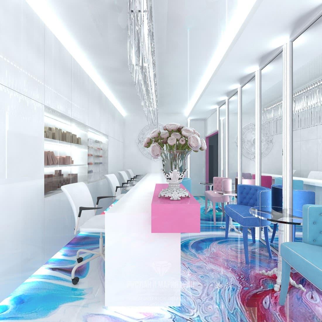 3D-визуализация основного зала салона красоты маленькой площади