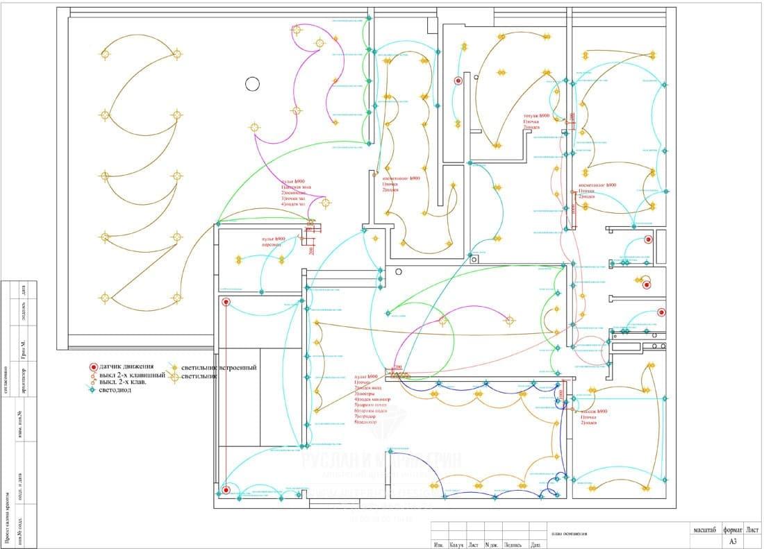 На фото: Схема электрики для дизайн-проекта небольшого салона красоты