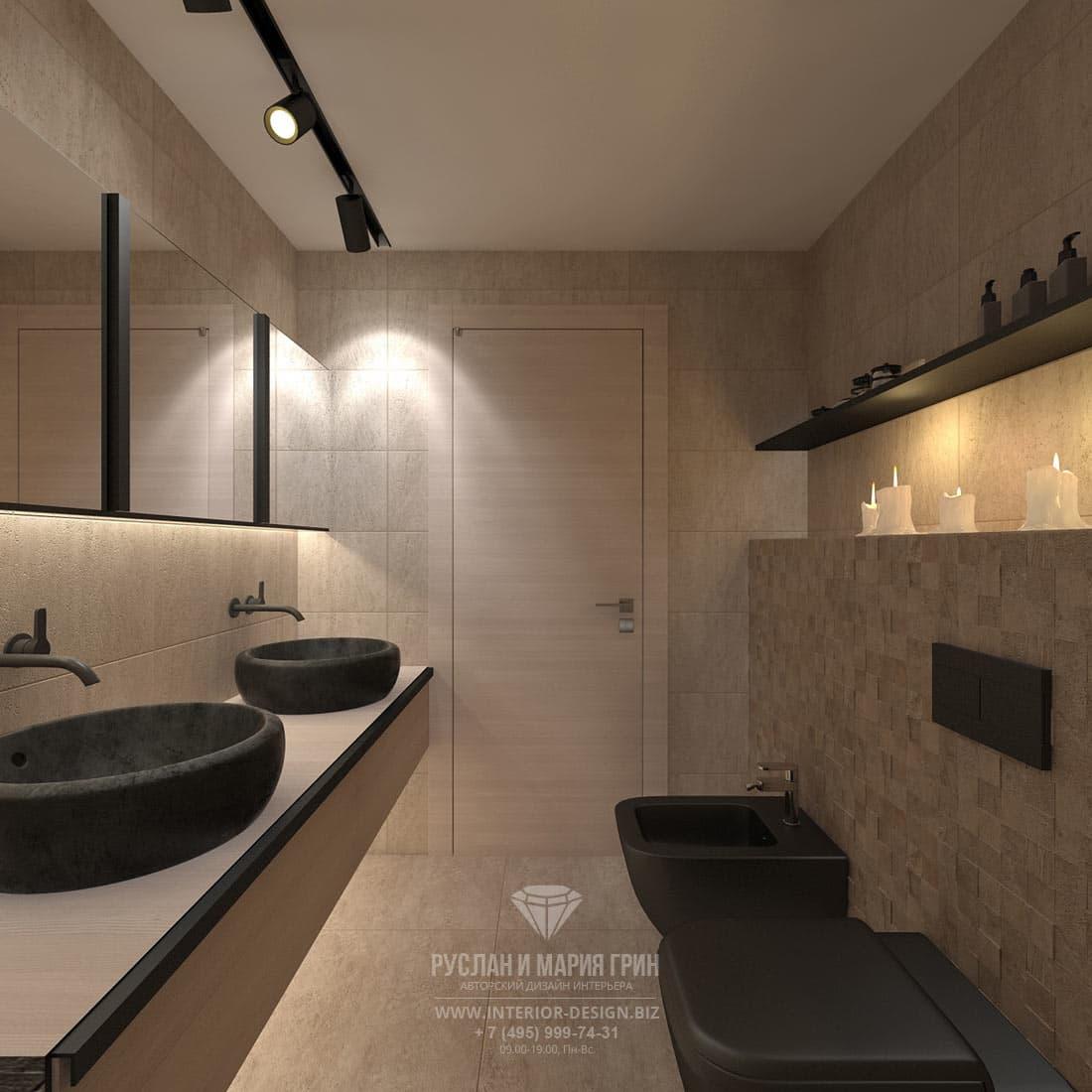 Дизайн интерьера хозяйского санузла и ванной комнаты в доме