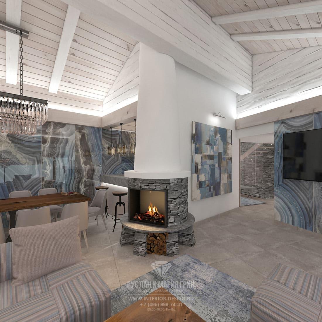 Дизайн интерьера гостиной с камином в доме в Швейцарии