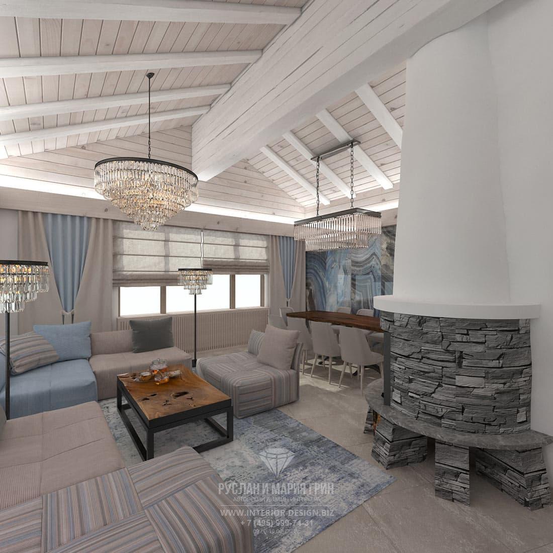 Дизайн интерьера гостиной в доме в Швейцарии