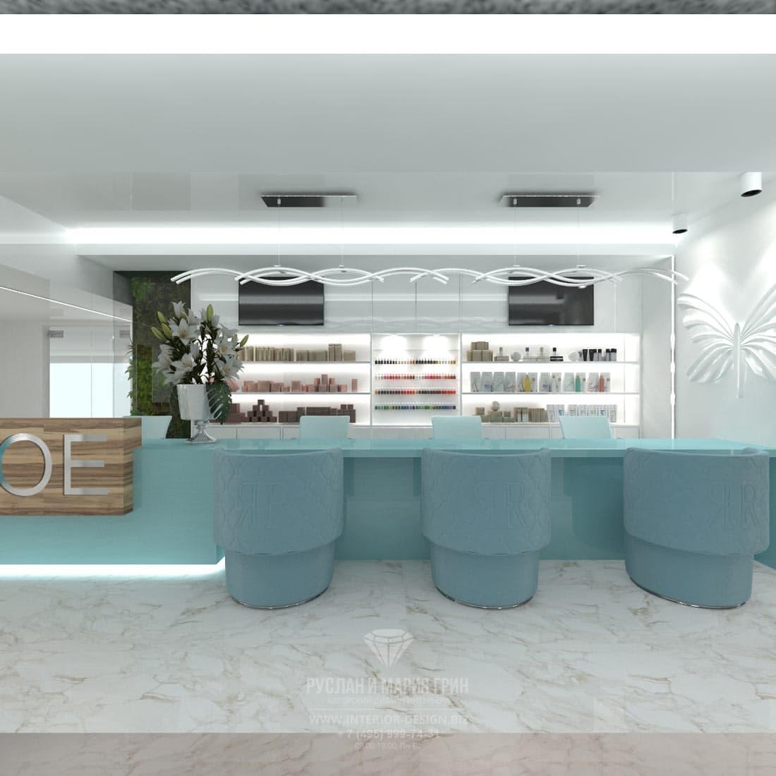 Дизайн интерьера современного салона красоты. Холл и зона ожидания