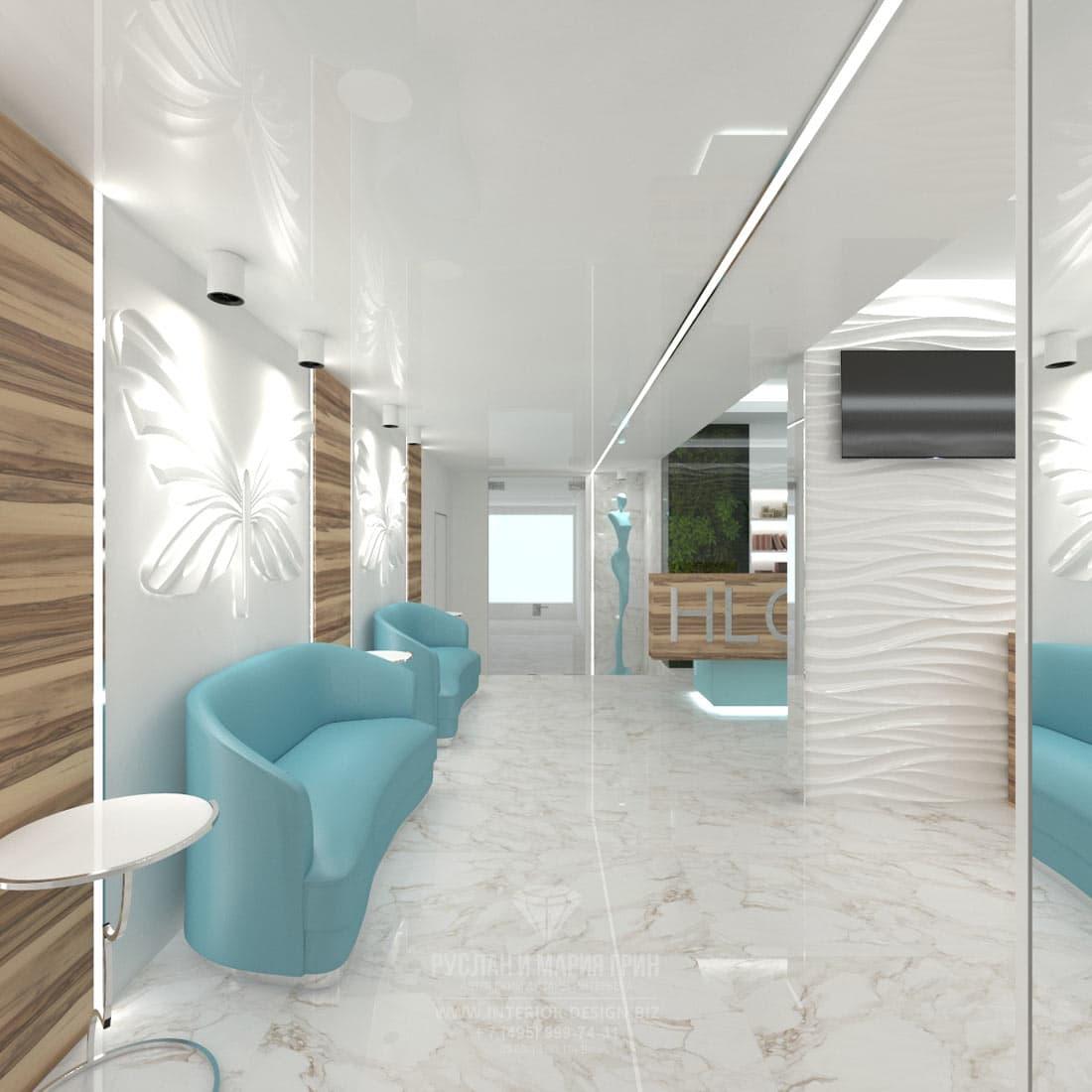 Дизайн интерьера современного салона красоты. Ресепшн и зона маникюра