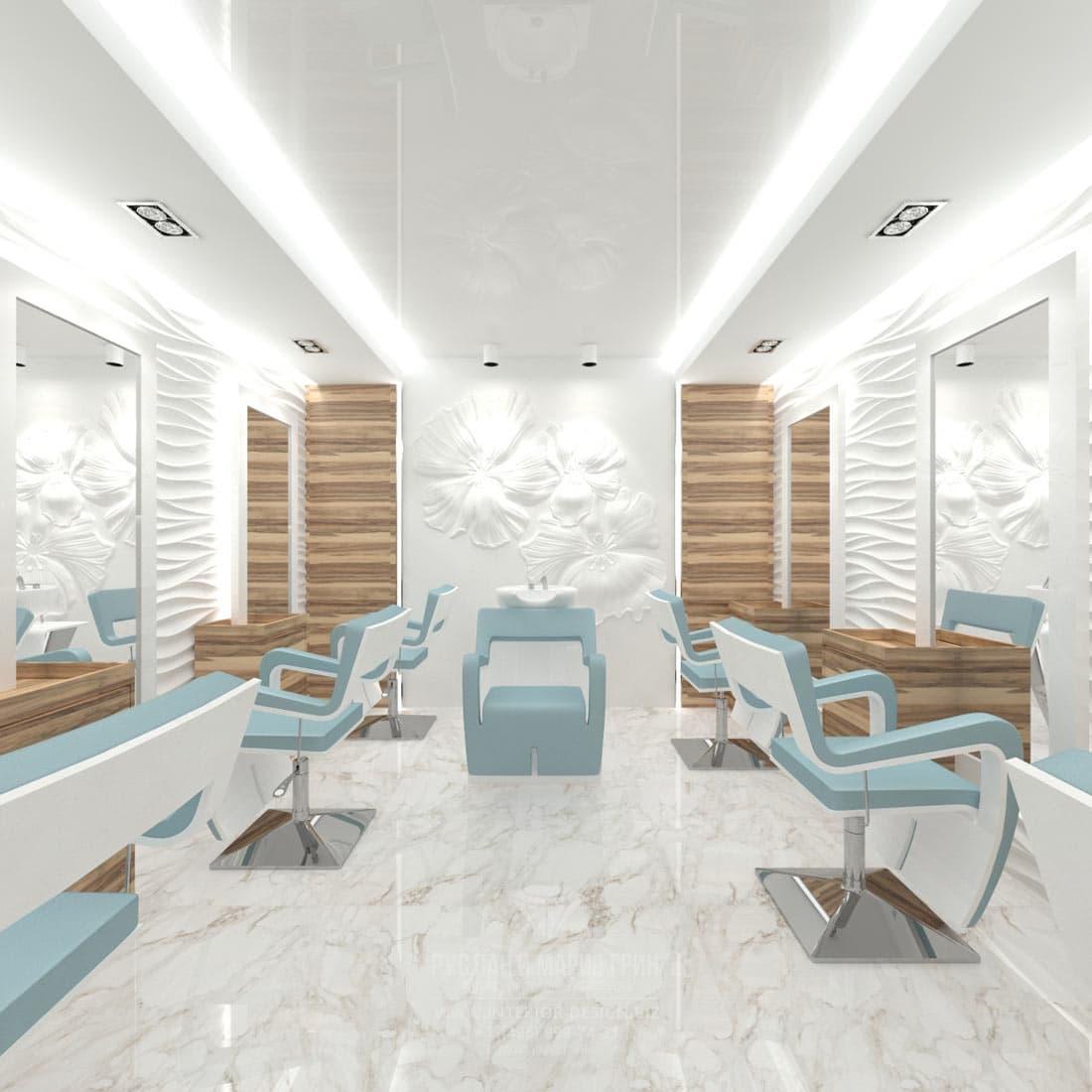Дизайн интерьера современного салона красоты. Парикмахерский зал