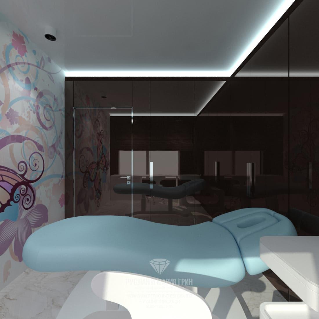 Дизайн интерьера современного салона красоты. Кабинет для нанесения тату