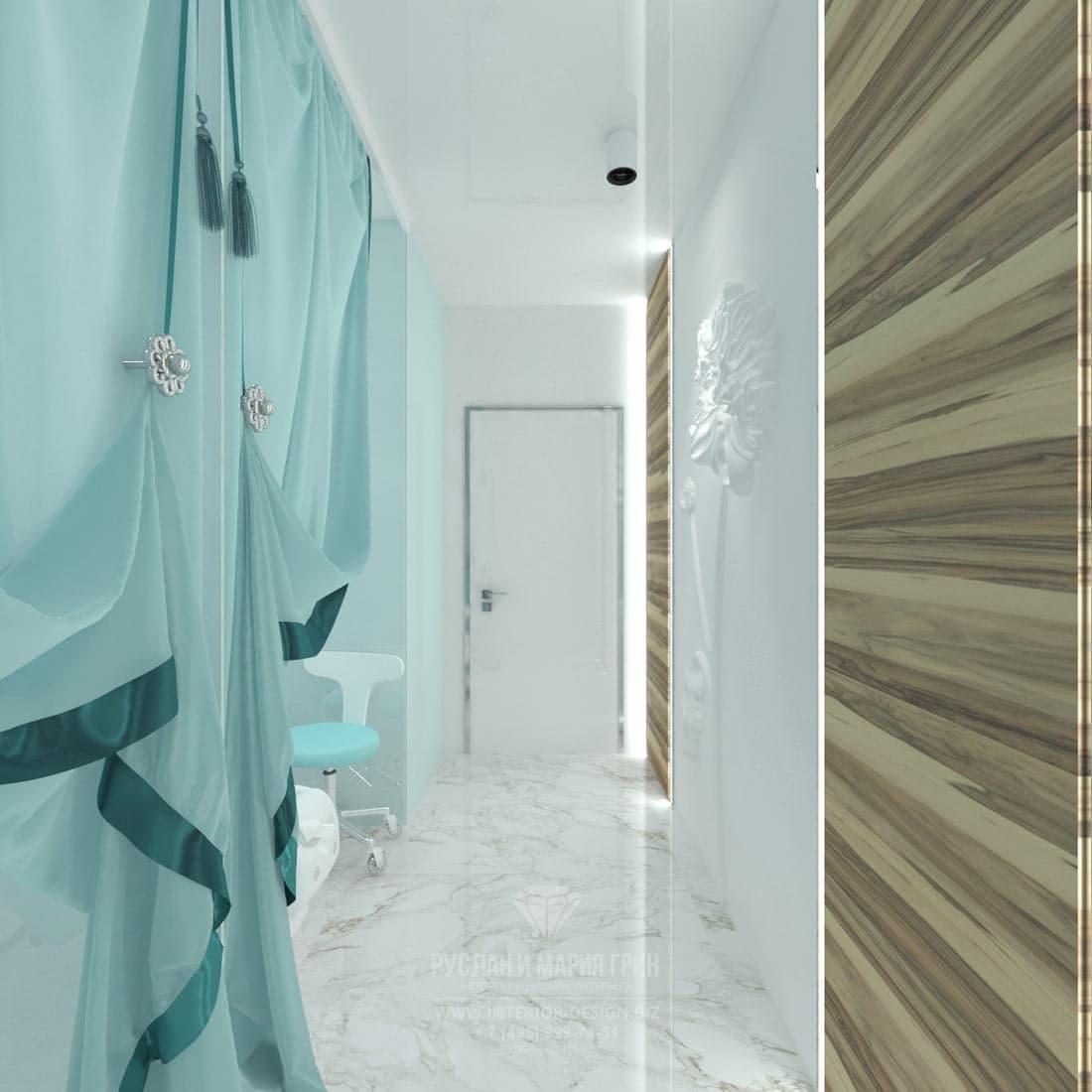 Дизайн интерьера современного салона красоты. Кабинет педикюра